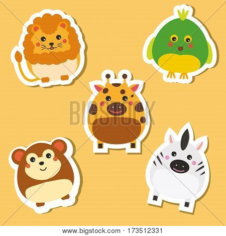 Cute african wild animals. Stickers set. Children style isolated design elements vector illustration. Lion parrot zebra giraffe monkey. Isolated design elements for kids books