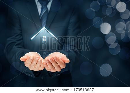Real estate agent offer house. Property insurance and security concept.