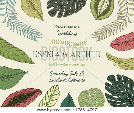 wedding invitation card, vintage engraved template for marriage, tropical leaves background groom and bride, hand drawn plants.