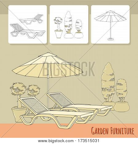 Vector illustration of hand drawn lounge chairs under patio umbrella and flowers in pot. Garden accessory on beige  background. Landscape design. Summer backyard with outdoor furniture. Rest area.