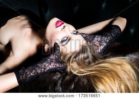 Pretty Girl Wearing Black Lace Gloves