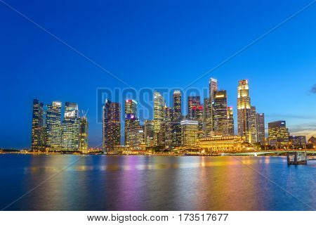 Singapore city skyline at night, Marina Bay, Singapore