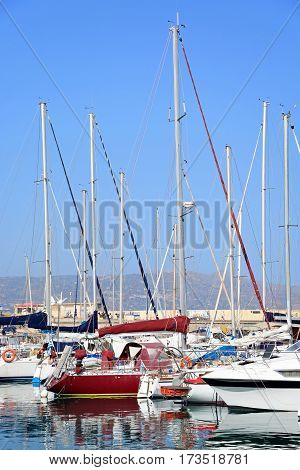 HERAKLION, CRETE - SEPTEMBER 19, 2016 - Yachts moored in the harbour Heraklion Crete Greece Europe, September 19, 2016.