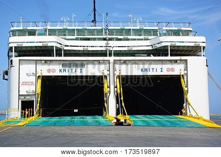 HERAKLION, CRETE - SEPTEMBER 19, 2016 - Anek Lines Kriti I car ferry loading ramps to car deck Heraklion Crete Greece Europe, September 16, 2016.