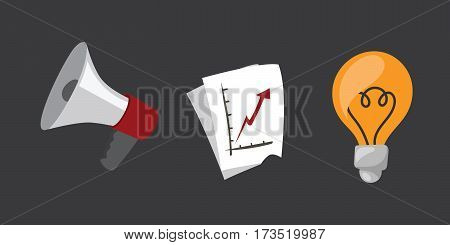 business stress isolated vector illustration office life concept bullhorn meeting report lamp idea coffee calculator book notebook graph diagram school education information notepad schedule plan