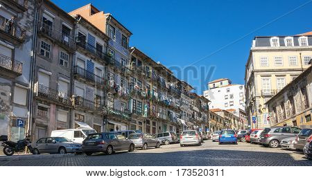 PORTO PORTUGAL - OCTOBER 20 2015: Street in the old town of Porto the second largest city in Portugal after Lisbon