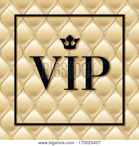 VIP abstract light quilted background and black letters with crown.