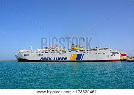 HERAKLION, CRETE - SEPTEMBER 19, 2016 - Anek Lines Kriti I car and passenger ferry moored in the port Heraklion Crete Greece Europe, September 19, 2016.