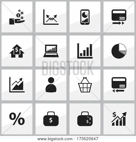 Set Of 16 Editable Statistic Icons. Includes Symbols Such As Percent, Schema, Equalizer Display And More. Can Be Used For Web, Mobile, UI And Infographic Design.