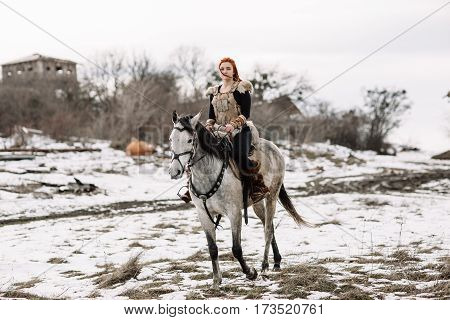 Viking Girl On Horseback