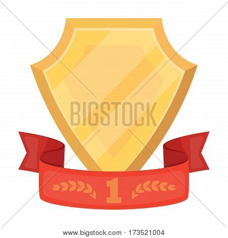Golden award with red ribbon. The medal of valor. Awards and trophies single icon in cartoon style vector symbol stock web illustration.