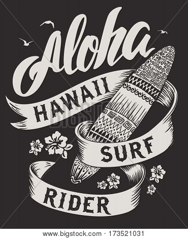 Aloha typography with surfboard illustration for t-shirt print vector illustration