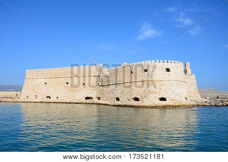 View of Koules castle in the harbour Heraklion Crete Greece Europe.