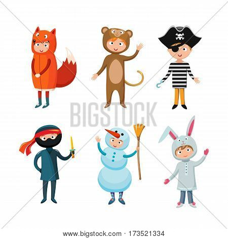 Kids different costumes isolated vector illustration. Snowman, bear ninja rabbit and fox pirate. Children party funny clothes. Playful character spooky baby superhero.