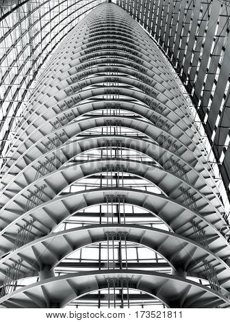 Black and white picture of abstract looking modern roof construction