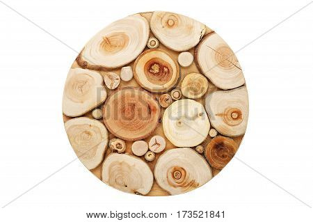 round wooden stand under a hot top view isolated
