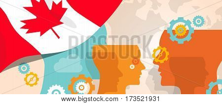 Canada concept of thinking growing innovation discuss country future brain storming under different view represented with heads gears and flag vector