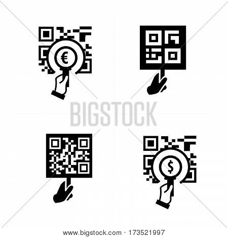 Hand and Zoom QR code icon vector design support eps10.