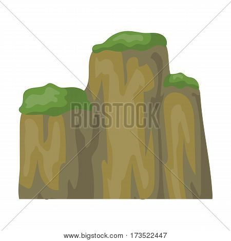 High green mountain with bushes on top. Different mountains single icon in cartoon style vector symbol stock web illustration.