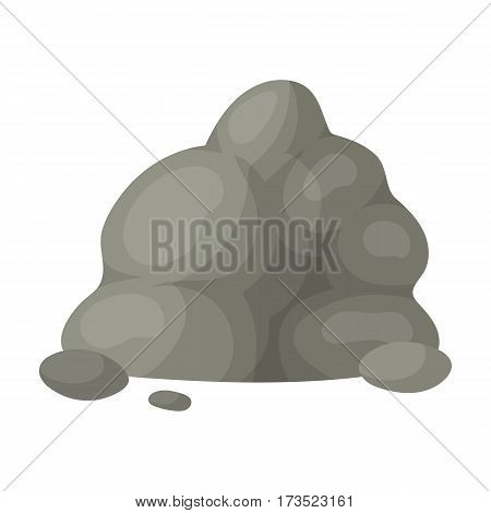 The small gray slide.A mountain that consists of a large number of small stones. Different mountains single icon in cartoon style vector symbol stock web illustration.
