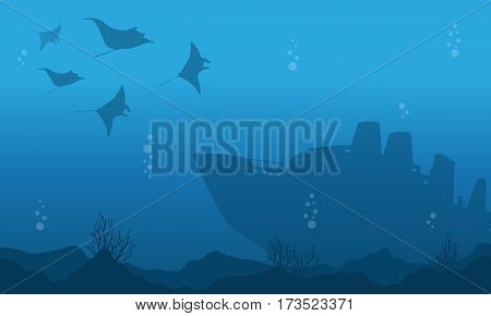 Silhouette of underwater with big ship and fish vector art