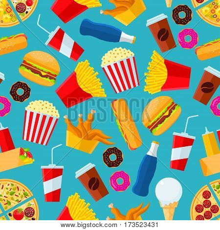 Fast food seamless pattern with vector snacks and drinks as pizza slice, chicken leg, fries, hot dog, cheeseburger, coffee, mayonnaise, ketchup, soda drink, ice cream scoop, pop corn, donut