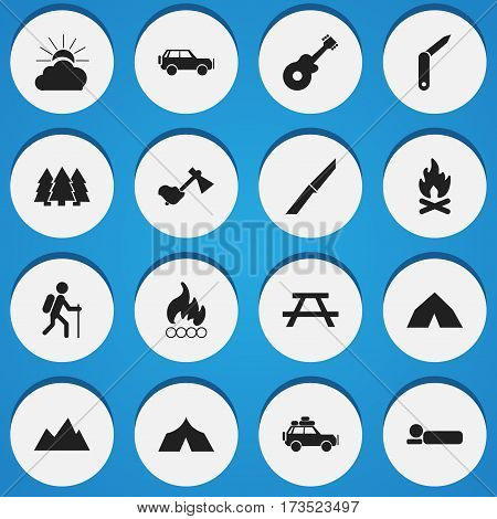 Set Of 16 Editable Trip Icons. Includes Symbols Such As Knife, Pine, Bedroll And More. Can Be Used For Web, Mobile, UI And Infographic Design.