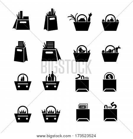 Shopping Bags Set with drink foods and status icons