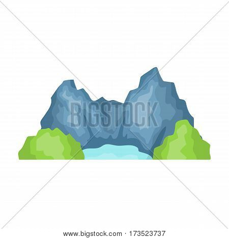 Blue mountain, under which flows the river. Different mountains single icon in cartoon style vector symbol stock web illustration.