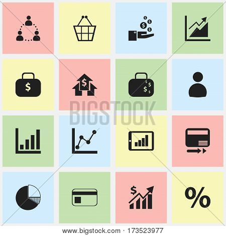 Set Of 16 Editable Statistic Icons. Includes Symbols Such As Graph Information, Circle Diagram, Money Bag And More. Can Be Used For Web, Mobile, UI And Infographic Design.
