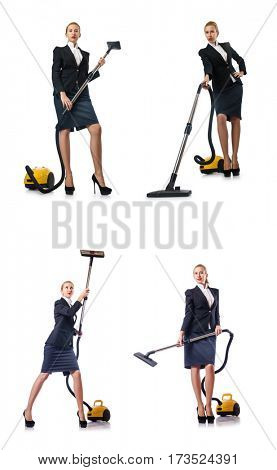 Businesswoman cleaning with vacuum cleaner on white