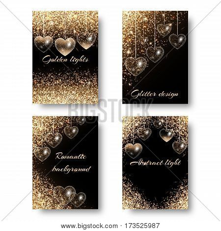 Wedding background with brilliant light. Shine bright on a black backdrop. Design to celebrate marriage proposal