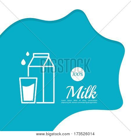 Abstract background with streaks of milk, drops waves, natural, glass  and  carton box, paper bag of milk. For Advertising, product presentations.