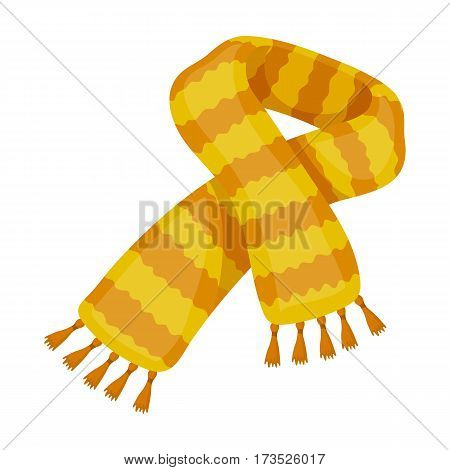 Yellow striped wool scarf.Scarves and shawls single icon in cartoon style vector symbol stock web illustration.