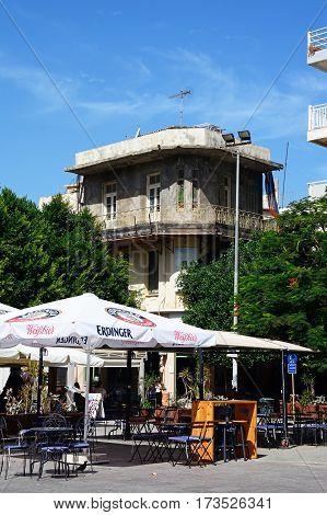 HERAKLION, CRETE - SEPTEMBER 19, 2016 - City centre pavement cafe Heraklion Crete Greece Europe, September 19, 2016.