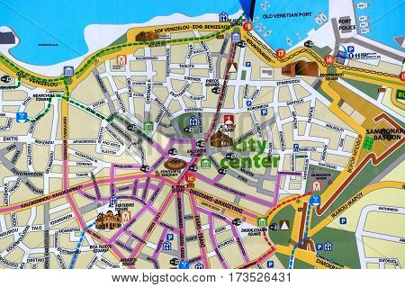 HERAKLION, CRETE - SEPTEMBER 19, 2016 - City centre town map showing tourist attractions Heraklion Crete Greece Europe. September 19, 2016.