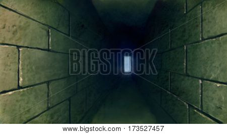 digital painting of a dark tunnel escape find a way out
