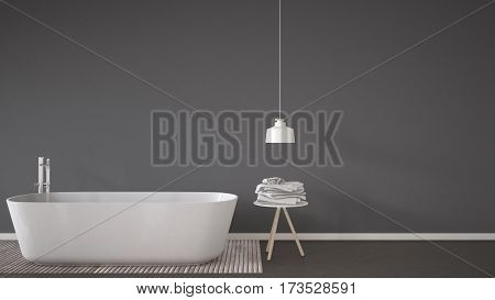 Scandinavian Bathroom Background, Bathtub, Table And Lamp On Herringbone Natural Parquet Flooring, I