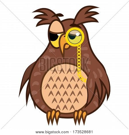 Set Vector Illustrations isolated character cartoon sarcastic owl emoticons with pinc nez for site, info graphics, reports, comics