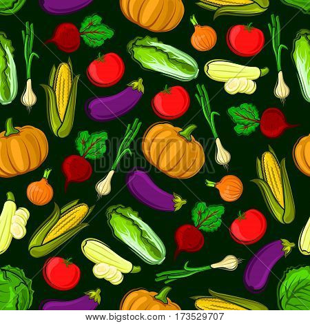 Vector icons of vegetables in seamless pattern. Vegetarian fresh ripe of pumpkin, eggplant, napa cabbage, zucchini, leek, corn, tomato, beet, onion. Kitchen decoration background