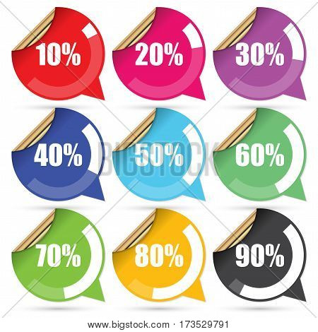 Colorful Sale 10 - 90 Percent OFF Discount Label Tag Isolated on White Background. Vector