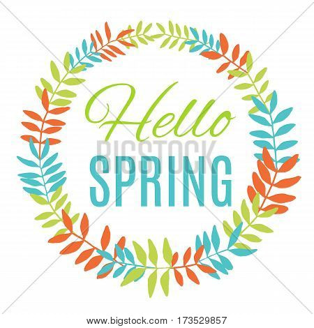 Hello spring greeting card wreath. Vector illustration
