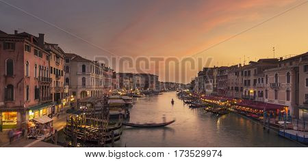 Sunset At Grand Canal, Venice. View From Ponte Di Rialto