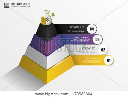 Pyramid. Infographic concept. Modern design template. Vector illustration.