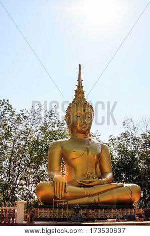 Golden buddha in thailand abstract background, art background