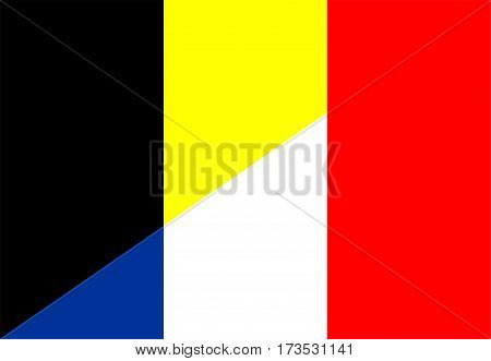 belgium france neighbour countries half flag symbol