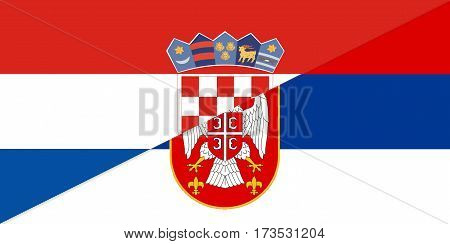 croatia serbia neighbour countries half flag symbol