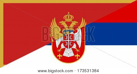 montenegro serbia neighbour countries half flag symbol