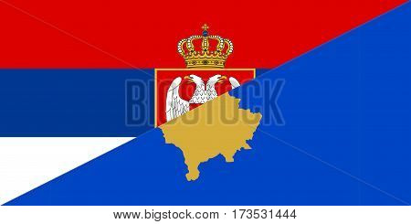 serbia kosovo neighbour countries half flag symbol
