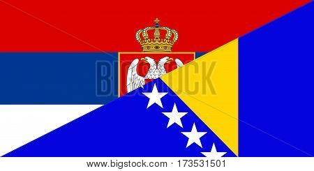 serbia bosnia herzegovina neighbour countries half flag symbol